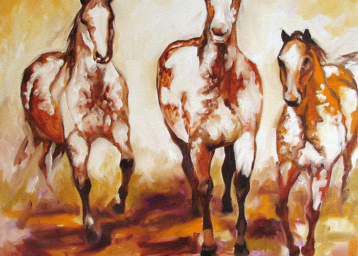 Horse Greeting Card featuring the painting Three Pinto Indian Ponies by Marcia Baldwin