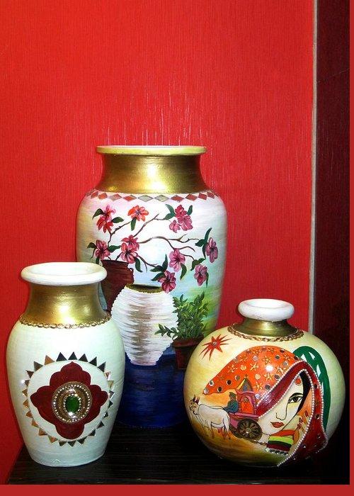 Pots Greeting Card featuring the ceramic art Three Pots by Xafira Mendonsa