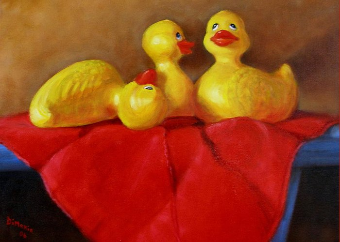 Greeting Card featuring the painting Three Rubber Ducks 3 by Donelli DiMaria
