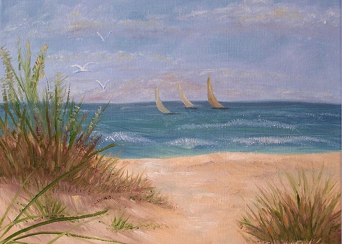 Beach Greeting Card featuring the painting Three Sails by Barbara Harper