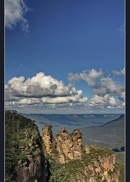 Three sisters blue mountains greeting card for sale by alexey dubrovin blue greeting card featuring the photograph three sisters blue mountains by alexey dubrovin m4hsunfo