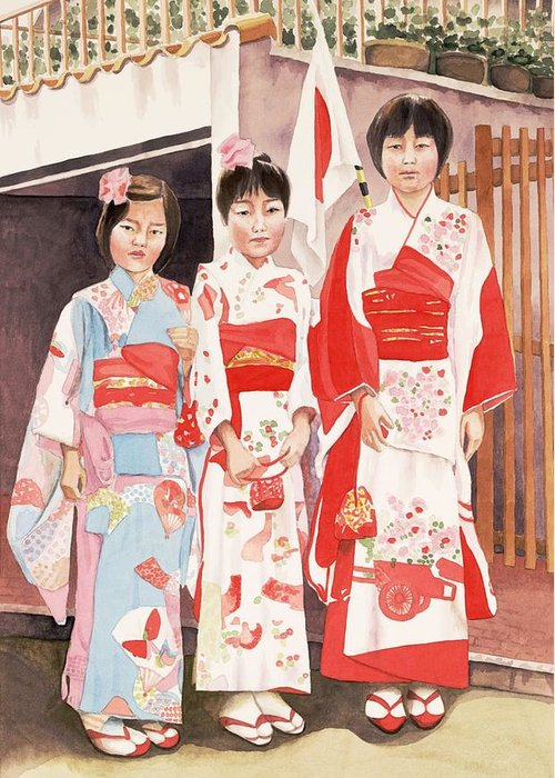 Three Japanese Girls In Kimono Greeting Card featuring the painting Three Sisters by Judy Swerlick