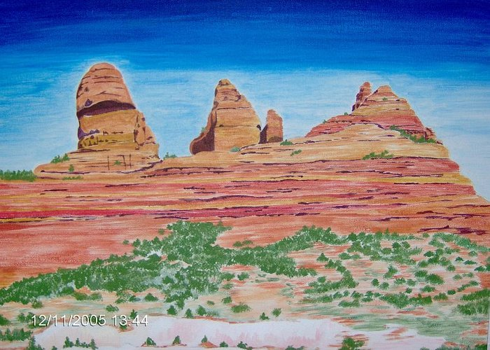 Landscape Greeting Card featuring the painting Three Sisters Sedona by Mary Beth Dolan