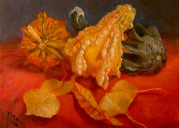 Realism Greeting Card featuring the painting Three Squash by Donelli DiMaria
