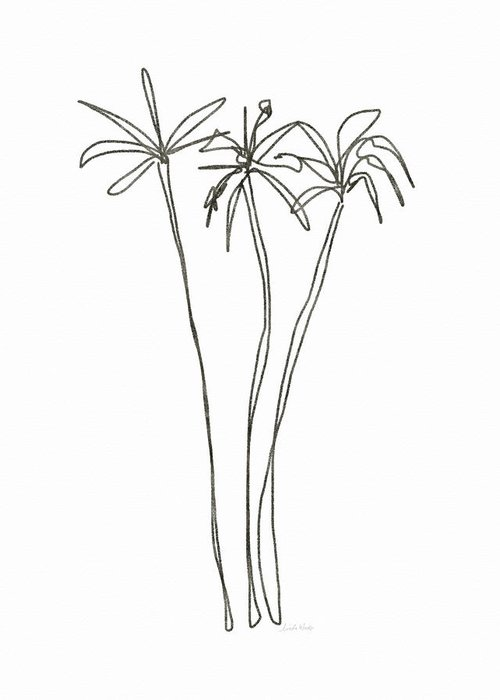 Trees Greeting Card featuring the drawing Three Tall Palm Trees- Art By Linda Woods by Linda Woods