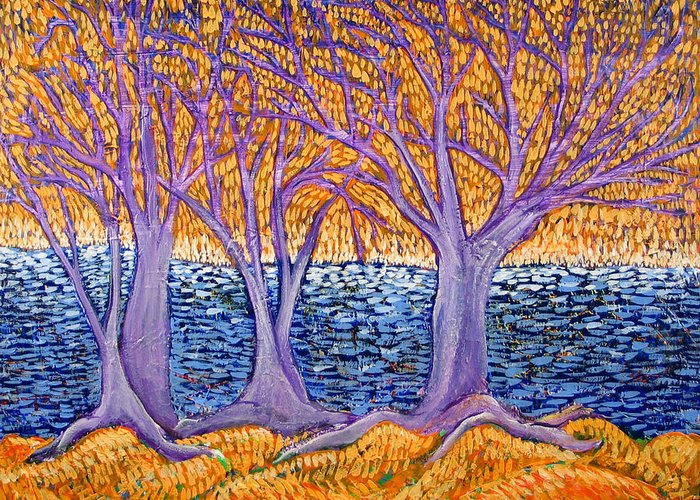 Landscape Greeting Card featuring the painting Three Trees by Rollin Kocsis