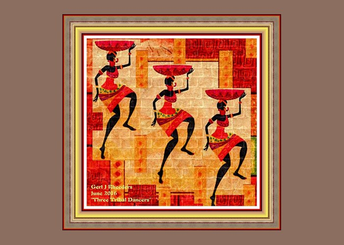 Tribal Greeting Card featuring the painting Three Tribal Dancers L A With Decorative Ornate Printed Frame. by Gert J Rheeders