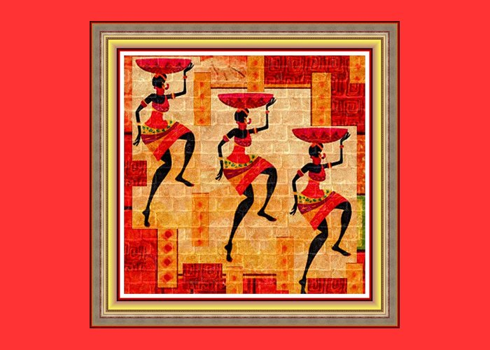 Tribal Greeting Card featuring the painting Three Tribal Dancers L B With Decorative Ornate Printed Frame by Gert J Rheeders