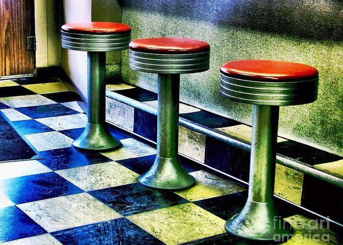 Old Diner Seating Greeting Cards