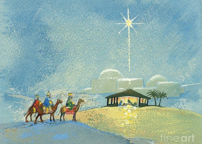 Star; Bethlehem; Christmas Card; Religious; Christian; Holy; Birth Of Jesus Christ; Nocturne; Landscape; Children's Illustration; Manger; Camels; Crowns; Kings; Horses Greeting Card featuring the painting Three Wise Men by David Cooke