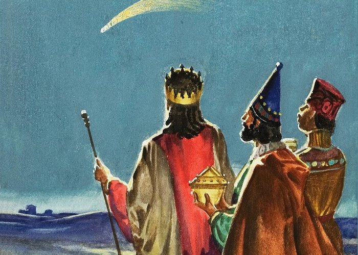 Three Wise Men; Nativity; Three Kings; Star Of David; Christ; Jesus; Birth; Bethlehem; Bible Greeting Card featuring the painting Three Wise Men by English School