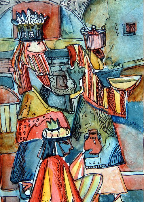 Wise Greeting Card featuring the painting Three Wise Men by Mindy Newman