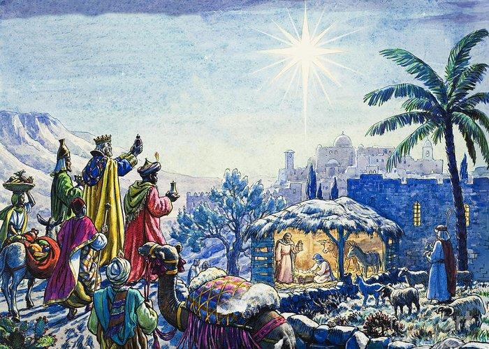 Infant; Baby; Birth; Jesus; Christ; Stable; Gifts; Present; Gold; Frankincense; Myrrh; King; Kings; Wise Men; Holy; Mary; Virgin; Madonna; Joseph; Family; Adoring; Worshipping; Stable; Landscape; Three; Christmas; Epiphany; Nativity; North Star; Infant; Baby; Birth; Jesus; Christ; Stable; Gifts; Present; Gold; Frankincense; Myrrh; King; Kings; Wise Men; Holy; Mary; Virgin; Madonna; Joseph; Family; Adoring; Worshipping; Stable; Landscape; Three; Christmas; Epiphany Greeting Card featuring the painting Three Wise Men by Unknown