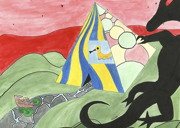 Experiment Greeting Card featuring the painting Three Wise Swans by Steven Winkelstein