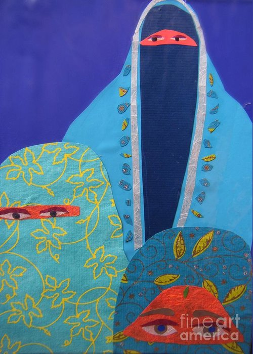 Women Greeting Card featuring the painting Three Women In Burkhas by Debra Bretton Robinson