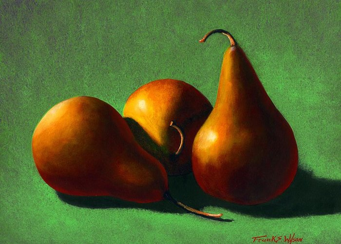 Still Life Greeting Card featuring the painting Three Yellow Pears by Frank Wilson