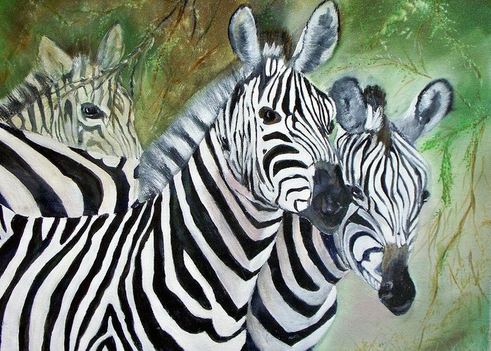 Zebra Wildlife Africa Animals Greeting Card featuring the painting Three Z Puzzle by Lynda McDonald