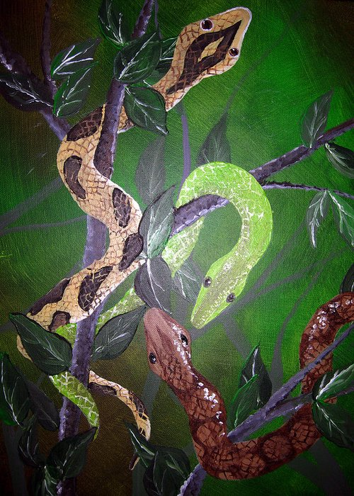 Snake Greeting Card featuring the painting Threes Company by Sharon Supplee