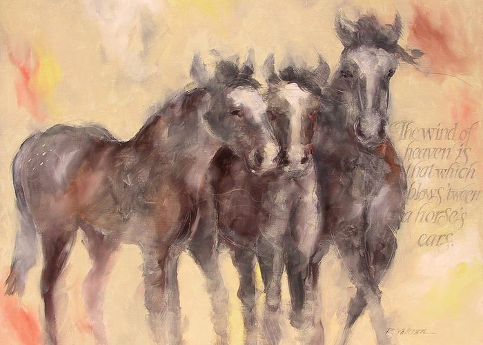 Nature Greeting Card featuring the painting Through A Horses Ears by Ron Patterson