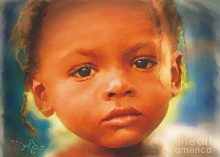 Haiti Greeting Card featuring the painting Through My Eyes by Bob Salo