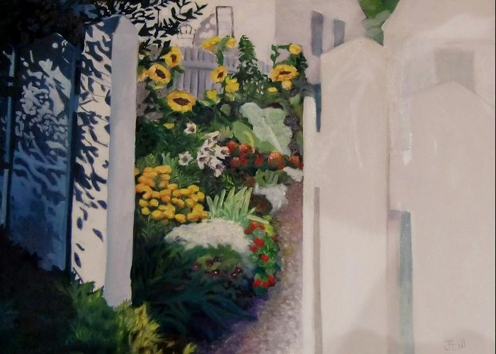 Painting Garden Greeting Card featuring the painting Through The Back Gate by Jean Stark