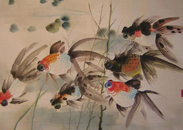 Fish Greeting Card featuring the painting Through The Barrage by Lian Zhen