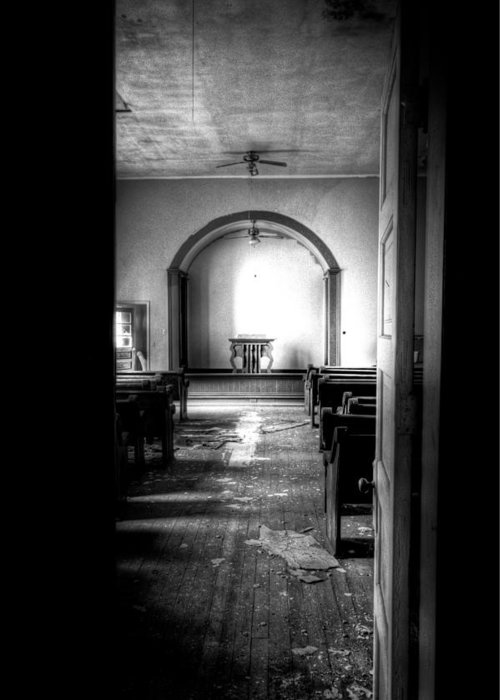 Church Greeting Card featuring the photograph Through The Doorway by Jonny D