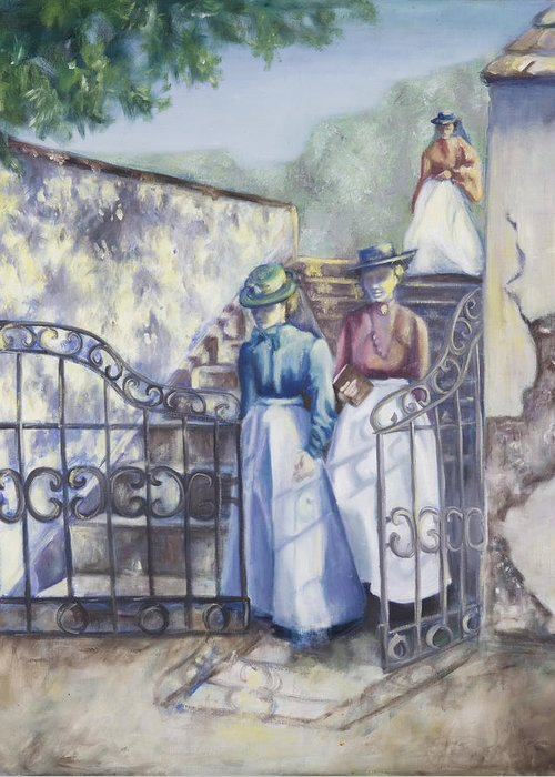 Garden Stairs Greeting Card featuring the painting Through The Gate by Victoria Shea