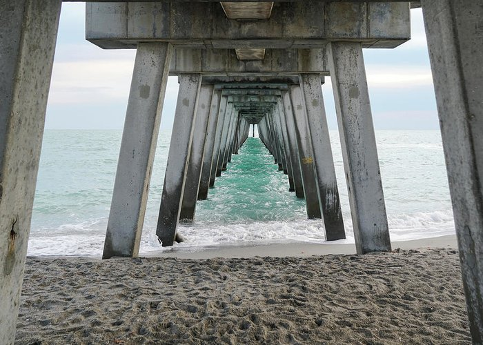 Pier Greeting Card featuring the photograph Through The Legs by Ric Schafer