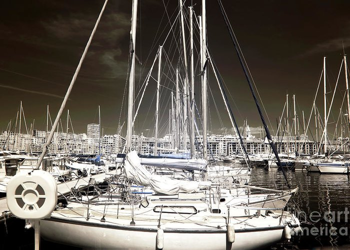 Through The Masts Greeting Card featuring the photograph Through The Masts by John Rizzuto