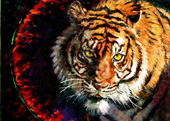 Tiger Greeting Card featuring the painting Through The Ring Of Fire by John Lautermilch
