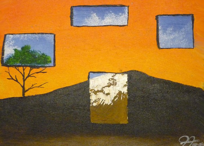 Landscape Greeting Card featuring the painting Through The Window by Christian Hidalgo