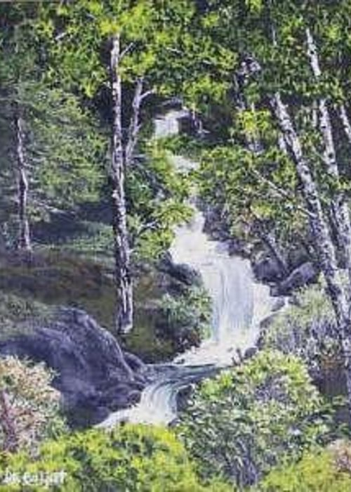This Is A Lovely Waterfall We Saw On The Way Back Home From Mount Hood Oregon. Greeting Card featuring the painting Through The Woods by Darla Boljat