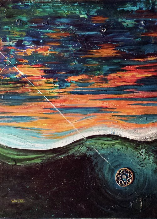 Abstract Sky Ocean Lake Fishing Lure Greeting Card featuring the painting Thrown Right Through by Beth Waltz