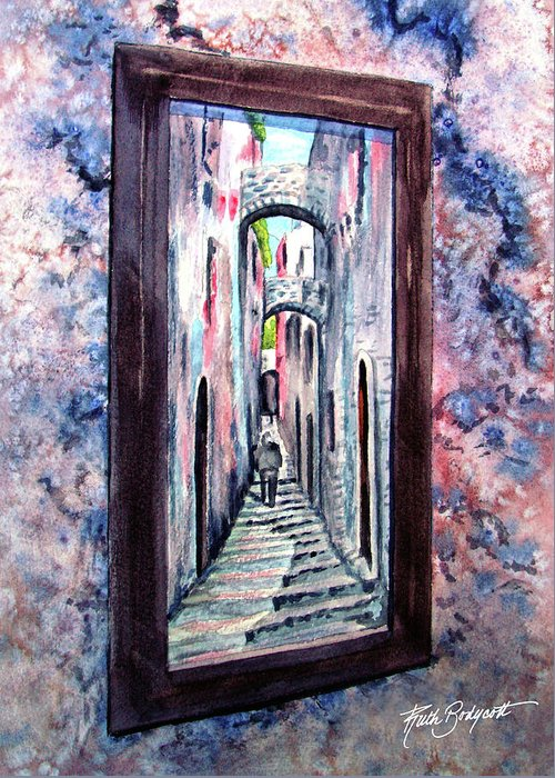 Mirror Greeting Card featuring the painting Thru The Looking Glass by Ruth Bodycott