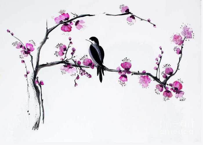 Greeting Card featuring the painting Thumb Bird In Plum Blossom by Sibby S