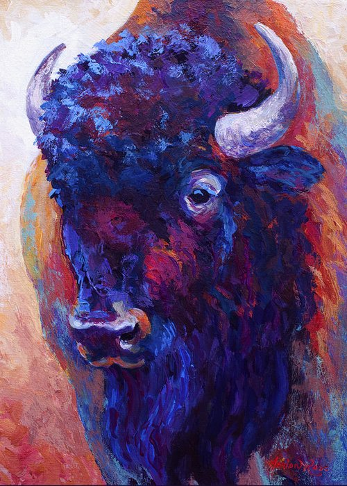 Bison Greeting Card featuring the painting Thunder Horse by Marion Rose