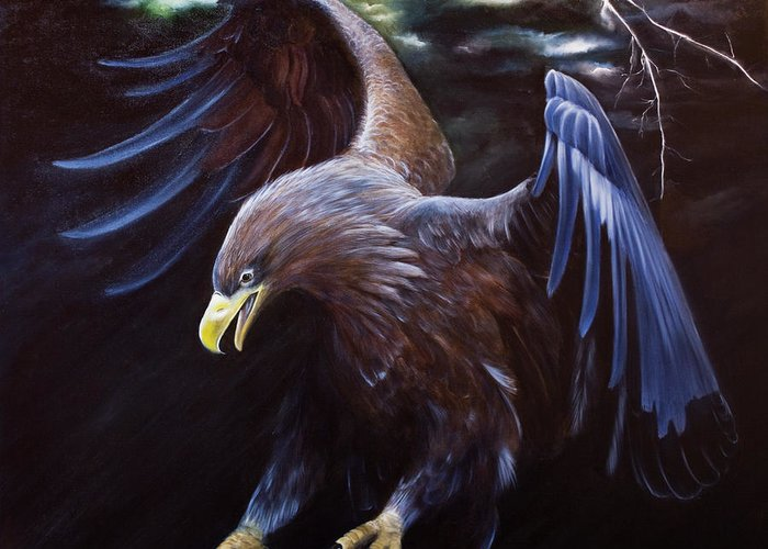 Eagle Greeting Card featuring the painting Thunder by Julie Bond