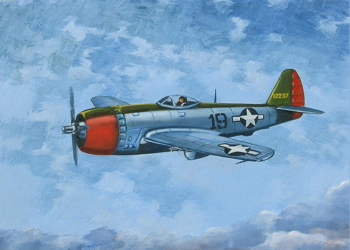 Airplanes Greeting Card featuring the painting Thunderbolt by Murray McLeod