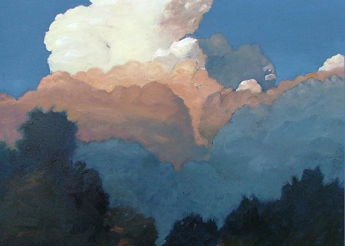 Cloud Greeting Card featuring the painting Thundercap Rising In Santa Fe by Gary Coleman