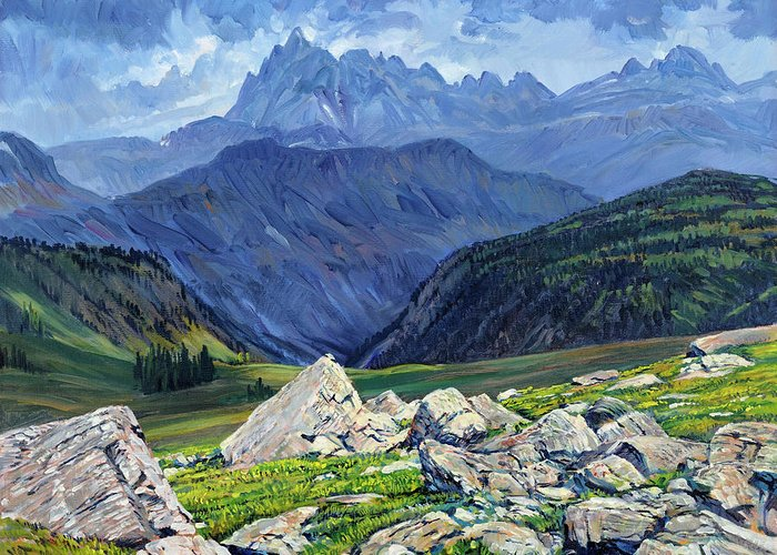 Wyoming Landscape Greeting Card featuring the painting Thunderheads at Fox Creek Pass by Steve Spencer