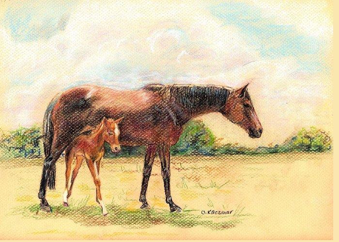 Horses Greeting Card featuring the pastel Tiara Under Alby 2 by Olga Kaczmar