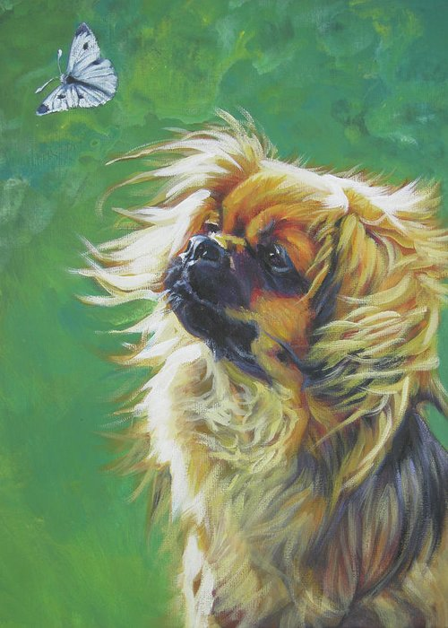 Tibetan Spaniel Greeting Card featuring the painting Tibetan Spaniel And Cabbage White Butterfly by Lee Ann Shepard