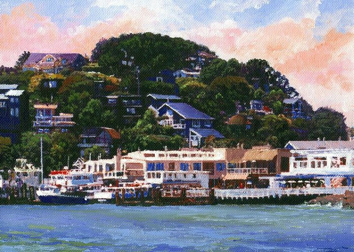 Landscape Greeting Card featuring the painting Tiburon California Waterfront by Frank Wilson