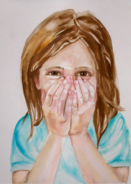 Little Girls Greeting Card featuring the painting Tickled Pink by Anne Cameron Cutri