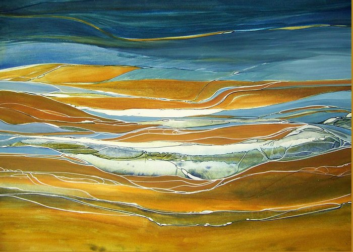 Contemporary Painting;earth Tones;linear Painting;rocks;water; Greeting Card featuring the painting Tidal Flow by Lois Mountz