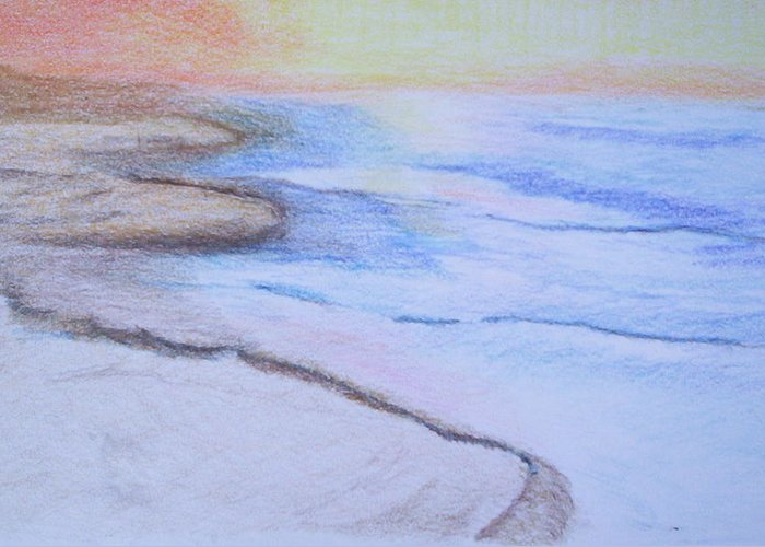 Landscape Greeting Card featuring the drawing Tide is Out by Suzanne Udell Levinger
