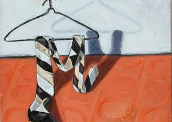 Man Greeting Card featuring the painting Tie On Hanger by Rollin Kocsis