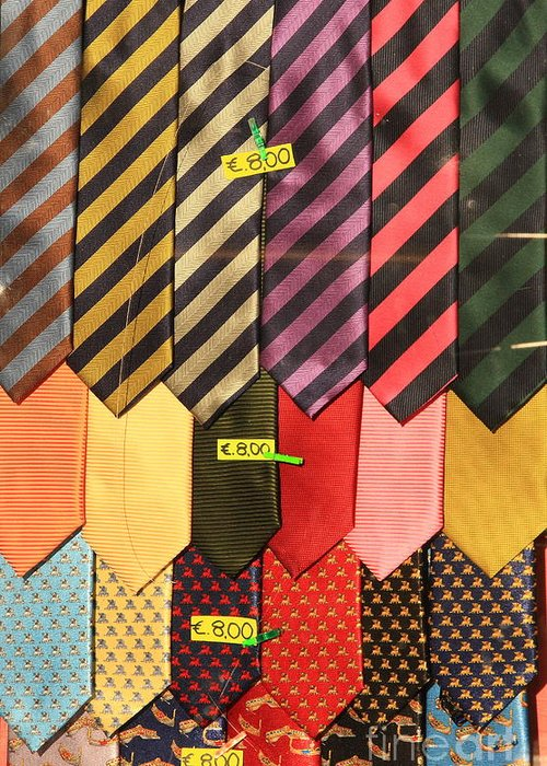 Neck Ties Greeting Card featuring the photograph Ties In Shop Window In Venice by Michael Henderson