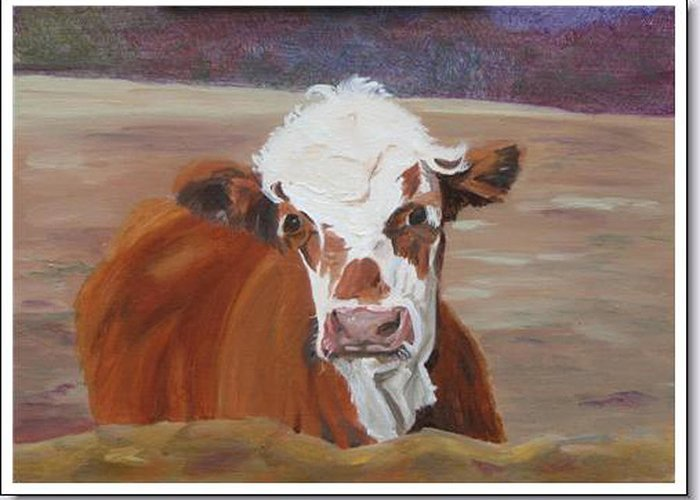 Cow Calf Farmscene Greeting Card featuring the painting Tiffany by Paula Emery